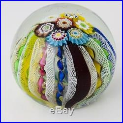 Millefiori Vintage Glass Paperweight Floral Latticino Canes Macys Imported Art