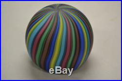 Murano Art Glass Round Multicolor Paperweight VIVID Color Candy Stripe Vintage