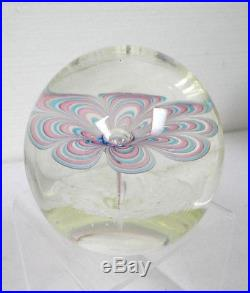 Murano Art Glass Vintage Round Paperweight With Pink Blue Flower Design