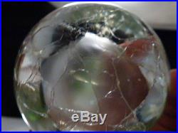 Murano Glass Pear Paperweight In Clear Crackled Finish Vintage