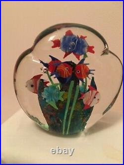 Murano Vintage Aquarium paperweight with 10 fishes