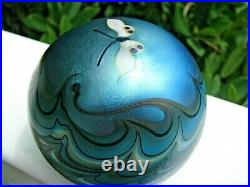 Nice Vtg. LUNDBERG STUDIOS BUTTERFLY PAPERWEIGHT Aqua, Pulled Feather, 3, 1981