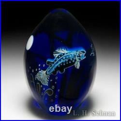 Orient & Flume (1991) Trout and Full Moon blue egg-shaped glass art paperweight