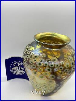 Orient and Flume Art Glass Vase Hawthorn Woods Hand Blown Gold Iriscene Vintage