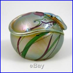 Orient and Flume Glass Golden Snake with Flowers Vintage Glass Paperweight