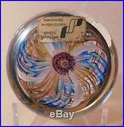 PRETTY & SCARCE Perthshire PP20 SWIRL & Center Cluster Cane ArtGlass Paperweight