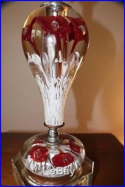 Pair Of Vintage Art Glass Lamps. St Claire Studio. Paper Weight Bottom