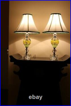 Pair Of Vintage St Clair Paperweight Glass Lamps With Yellow And Green Flowers