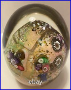 Paul Allen Counts Signed Large Colorful Egg Millefiori Art Glass Paperweight