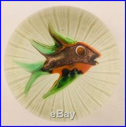 Paul Ysart Fish On White Twisted Latticinio Art Glass Paperweight Vintage