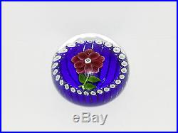 Paul Ysart Red Flower on Blue Stave Basket Ground Paperweight