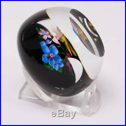 Perthshire Art Glass Paperweight Anemone Flower Bouquet on Black Facets Vintage