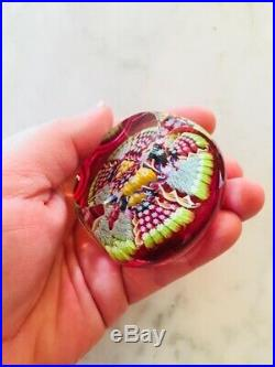 Perthshire Vintage Millefiori Faceted Cut Twisted Canes Paperweight with Label