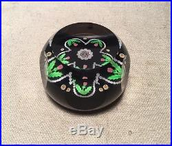 Perthsire Vintage Crystal Glass Black Green & Pink Floral Paperweight 1994