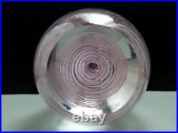 Pink Filigrana Swirl Art Glass Paperweight Vintage Hand Blown Air Twist 3.5 Tall