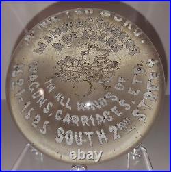 RARE ANTIQUE Millville HORSELESS CARRIAGE MFG. Art Glass Paperweight (1880-1915)