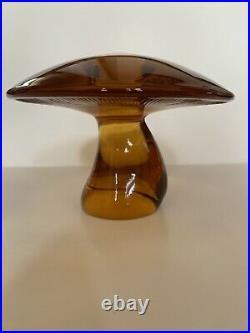 RARE HUGE VINTAGE GORGEOUS Viking Glass AMBER Mushroom 4.5 MCM ART GLASS