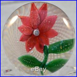 RARE LARGE VINTAGE NEGC NEW ENGLAND GLASS POINSETTIA on FILIGREE PAPERWEIGHT