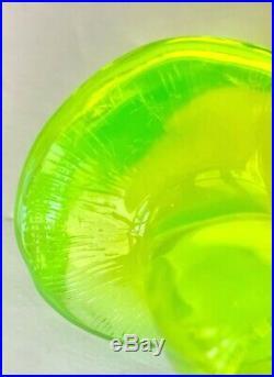 RARE Vintage GLOWS Lime Green Uranium Glass Vaseline Mushroom 3 Wide FLUORESCES
