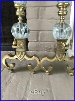 REDUCED! REDUCED! Vintage St Clair Paperweight Art Glass And Brass Andirons