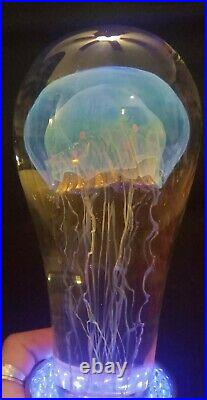 RICHARD SATAVA Large Moon Jellyfish Art Glass Sculpture almost 7 tall