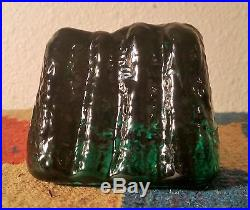 ROCK of GIBRALTAR vtg blenko art glass paperweight vine emerald green figure