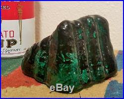ROCK of GIBRALTAR vtg fenton art glass paperweight vine emerald green figure