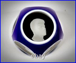 Rare Cobalt Overlay Vintage 1963 John F Kennedy Baccarat Sulfide Paperweight