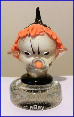 Rare Design New Vintage Murano Art Glass Alfredo Barbini Clown Head Paperweight