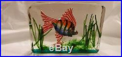 Rare Murano Cenedese Block Vintage Aquarium Paperweight