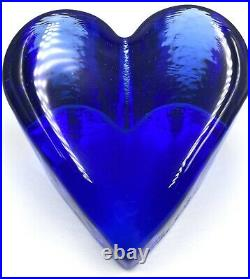 Rare Small Vintage COBALT HEART Paperweight Signed Fire & Light Recycled Glass