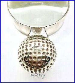 Rare Vintage 60s Hermes Silver Golf Ball Magnifying Glass Magnifier Paperweight