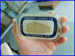 Rare Vintage Antique glass Advertisement Paperweight Chicago Casket Co Factory