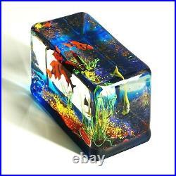 Rare Vintage Murano Italy Art Glass 5lb Block Fish Aquarium Signed Paperweight