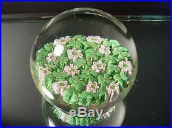 Rare Vintage Murano Millefiori Studio Art Glass Paperweight Pink & Greens Retro