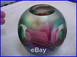 Rare Vintage Old JOE St. Clair Rose Glass Paperweight Elwood Indiana Carved Leaf