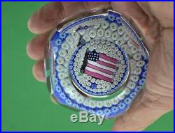 Rare Vintage Whitefriars USA Bicentennial flag Paperweight 1776 1976 Signed