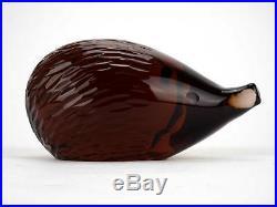 Rare vintage brown cut glass paperweight hedgehog, Collectible, Miloslav Janku