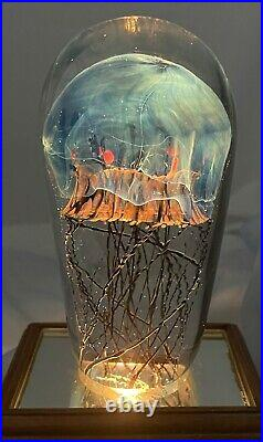 Richard Satava Moon Jellyfish Art Glass Sculpture Paperweight Sea Ocean 5.25