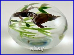 Rick Ayotte LE Signed 1980 Art Glass Paperweight Lampwork Bird On Branch Leaves