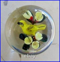 Rick Ayotte Paperweight Art Glass 2 in 1988 Collectible Yellow Finch Red Flowers