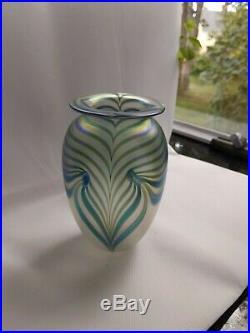 Robert EICKHOLT Vase Blue Signed/Dated 1988 Art Glass 6 Pulled Feather vintage