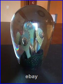 Robert Eickholt Large Anemone Dome Spray Vintage Art Glass Paperweight 6.5 in