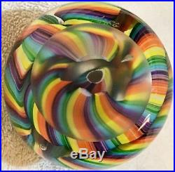Rollin Karg Vintage Signed Zero Gravity Rainbow Scramble Coil Glass Paperweight