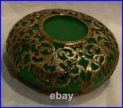 Round Antique/vtg Ormolu French Geeen Opaline Glass Paperweight 3 Preowned