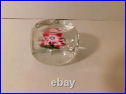 SCARCE Vintage 1973E Perthshire with a REDDISH PINK FLOWER Art Glass Paperweight