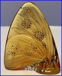 SEVEN Vintage Lalique France Crystal & Enamel Butterfly Paperweights MINT