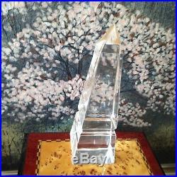 SIGNED Vintage STEUBEN Crystal Modernist PAPERWEIGHT Obelisk Pyramid Sculpture