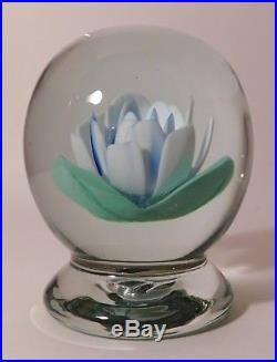 SPECTACULAR & Amazing Vintage BABY BLUE CRIMP ROSE Pedestal ArtGlass Paperweight