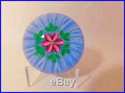 SPLENDID & SCARCE 1998A Perthshire with a PINK FLOWER Art Glass Paperweight